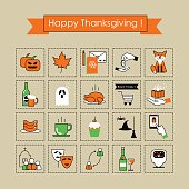 Set of vector icons on the day of Thanksgiving . Linear flat, colored