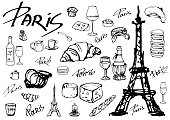 Set of vector icons. All about Paris. Eiffel tower, croissants, cheese of different varieties, snails, macaroon, cake, baguette, coffee, wine. Calligraphy.