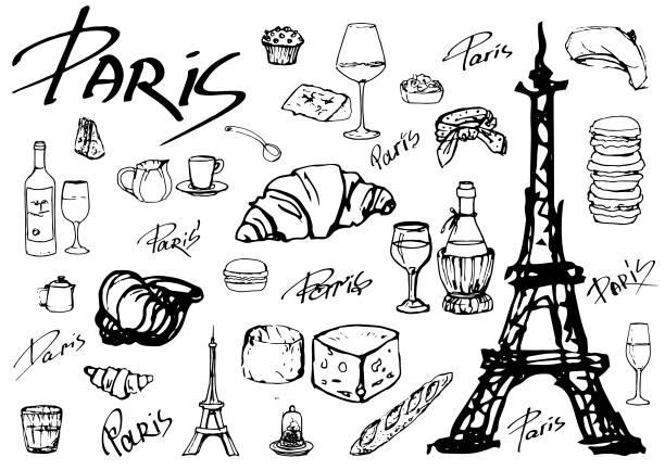 ilustraciones, imágenes clip art, dibujos animados e iconos de stock de conjunto de iconos de vector paris - comida francesa