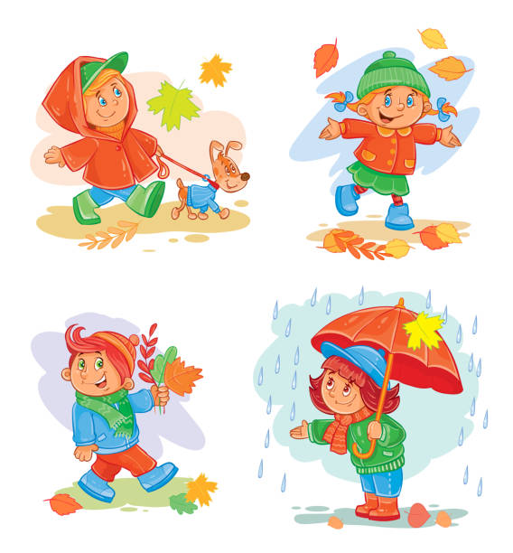 set of vector icons  small children - kids playing in rain stock illustrations, clip art, cartoons, & icons