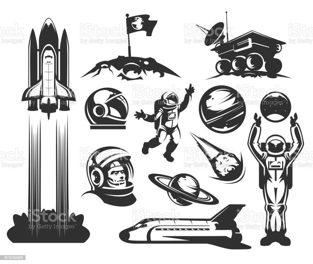 Set of vector icons space. - illustrazione arte vettoriale