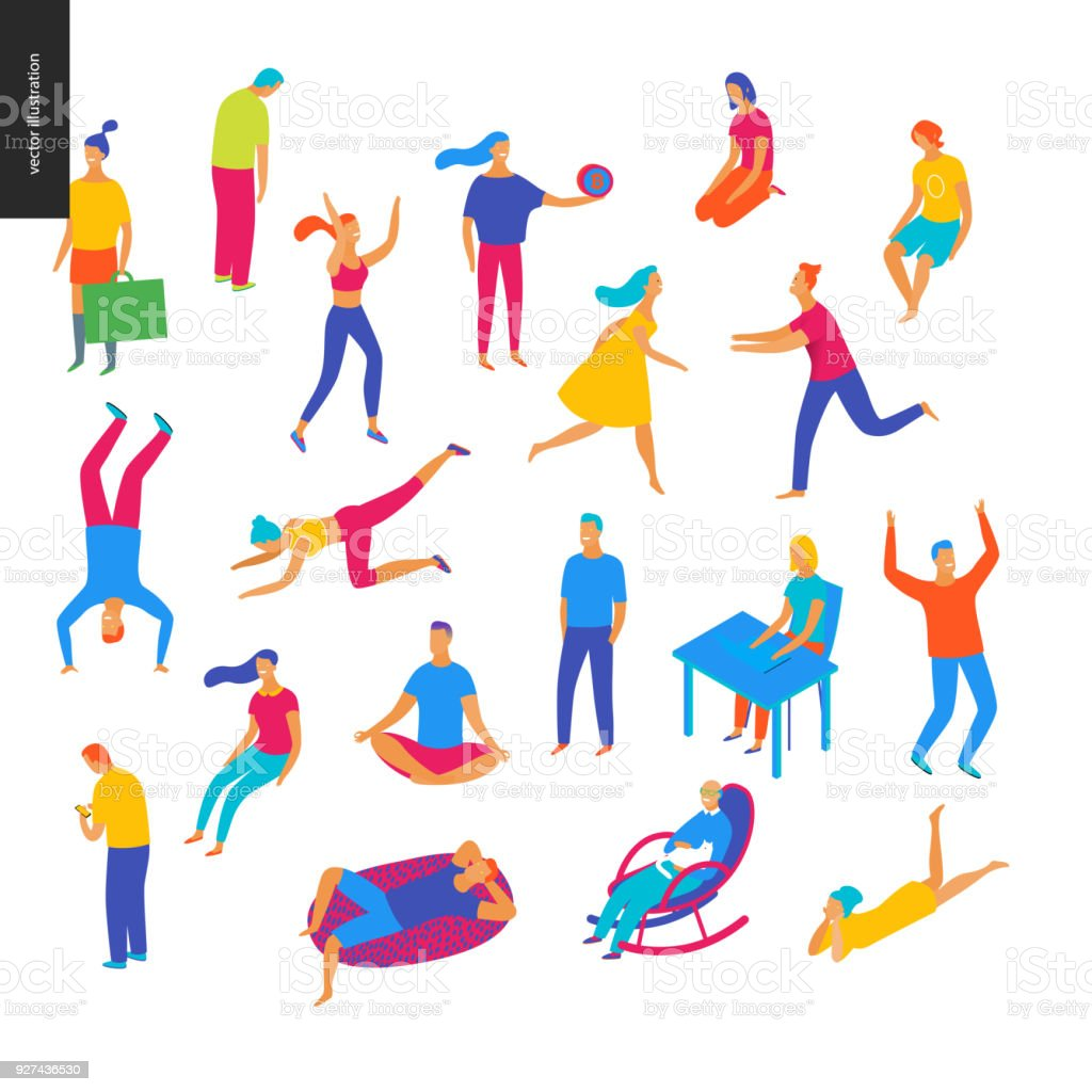Set of vector illustrated people royalty-free set of vector illustrated people stock illustration - download image now