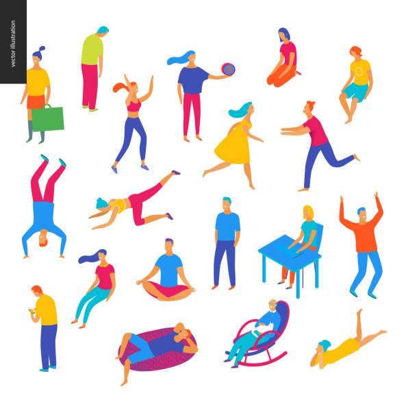 Conjunto de personas ilustradas de vector - ilustración de arte vectorial