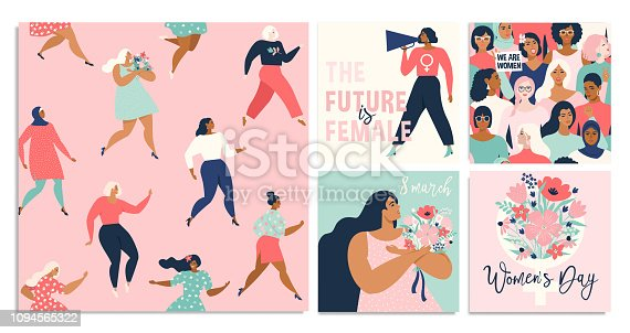 Set of vector illustration. 8 march, International Women's Day. Vector template with lettering design.