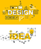 Set of modern vector illustration concepts of words design and idea. Thin line flat design banners for website and mobile website, easy to use and highly customizable.