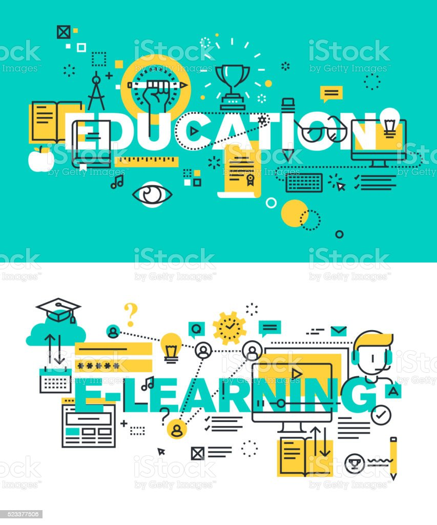 Set of vector illustration concepts of words education and e-learning vector art illustration