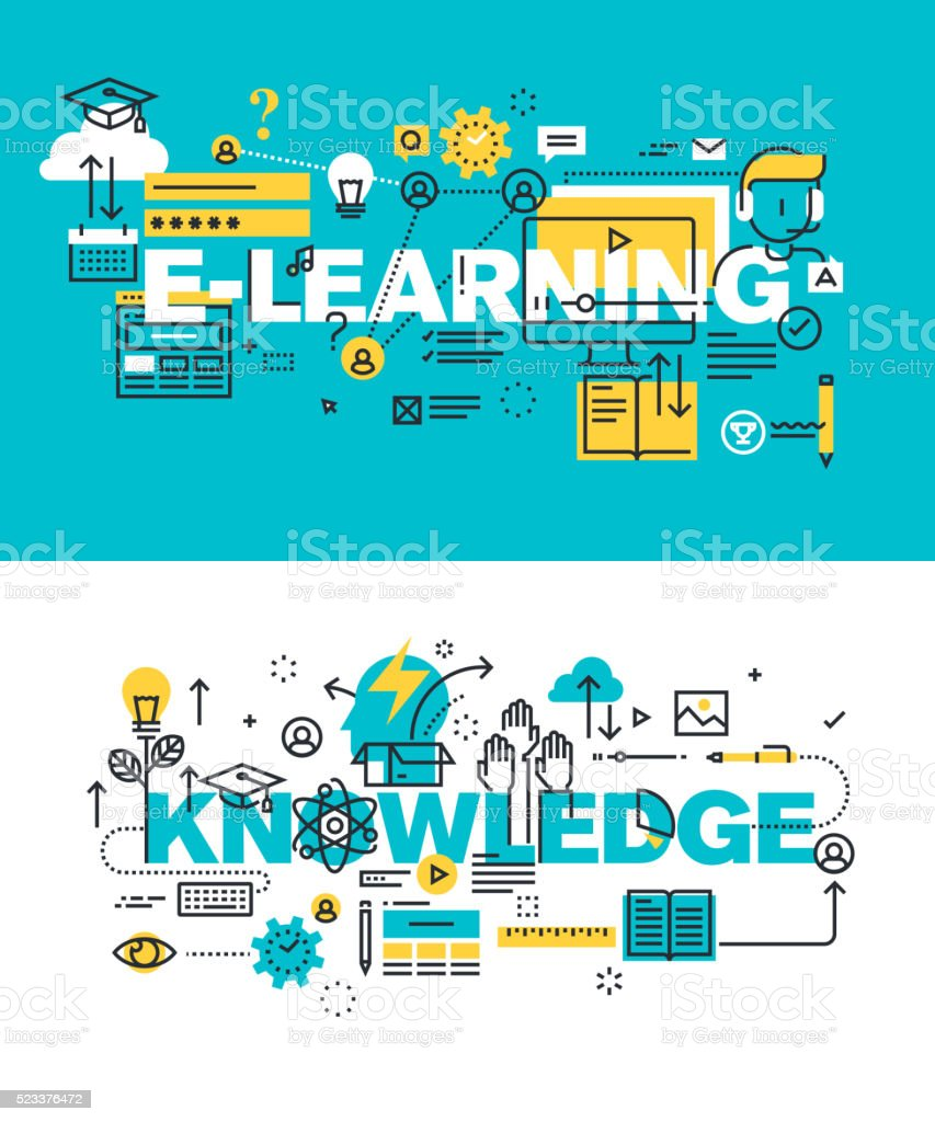 Set of vector illustration concepts of words e-learning and knowledge vector art illustration