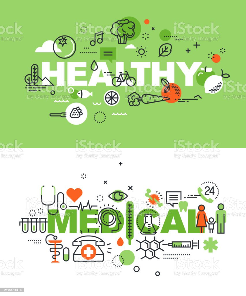Set of vector illustration concepts of words healthy and medical vector art illustration