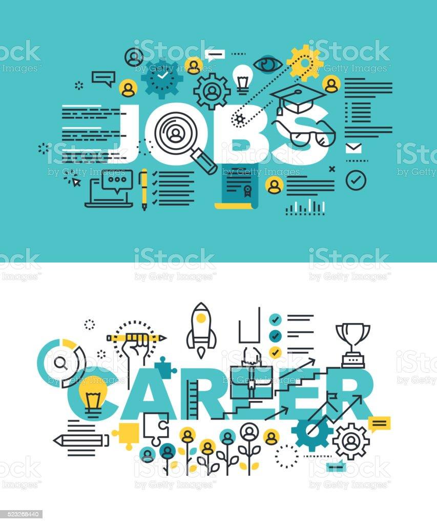 Set of vector illustration concepts of words jobs and careervectorkunst illustratie