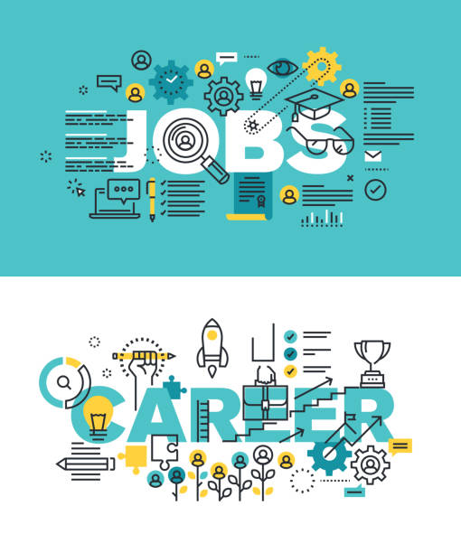 Set of vector illustration concepts of words jobs and career vector art illustration
