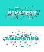 Set of vector illustration concepts of words strategy and marketing