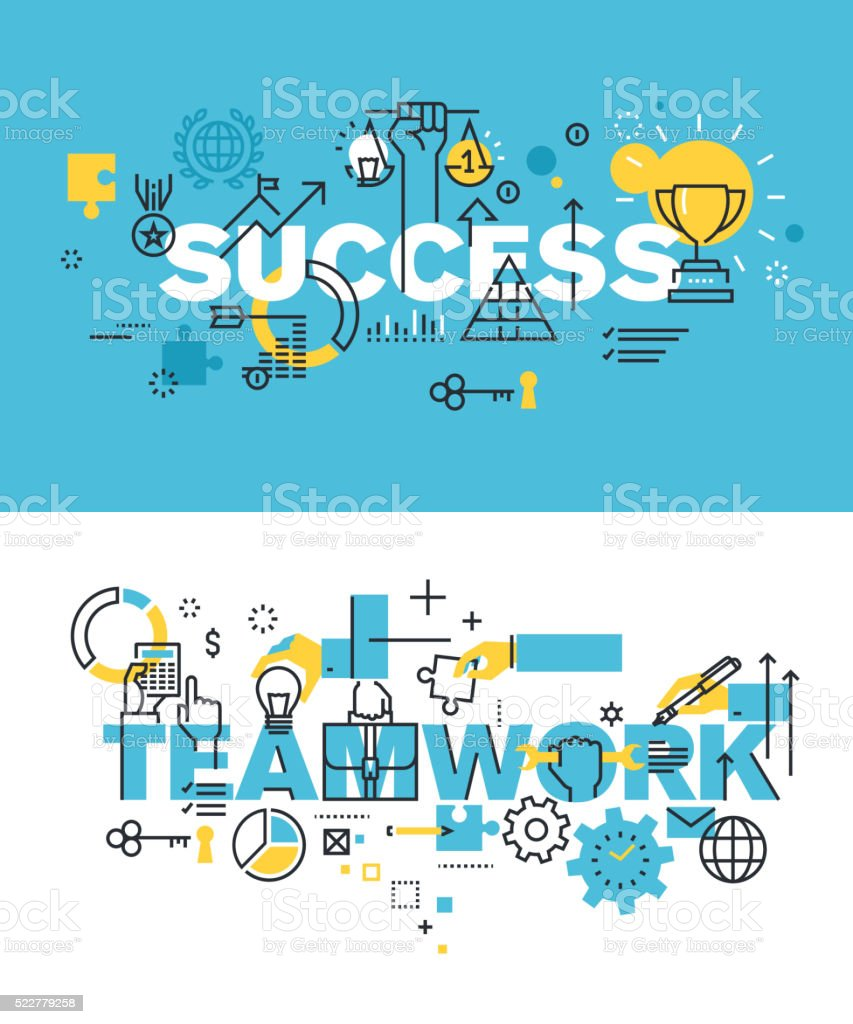 Ein Satz von Vektor-illustration Konzepte Wörter Erfolg und Teamarbeit – Vektorgrafik