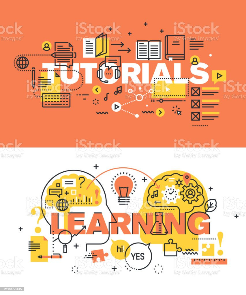 Set of vector illustration concepts of words tutorials and learning vector art illustration