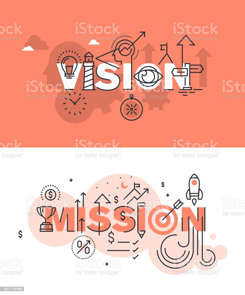 Set of vector illustration concepts of words vision and mission vector art illustration