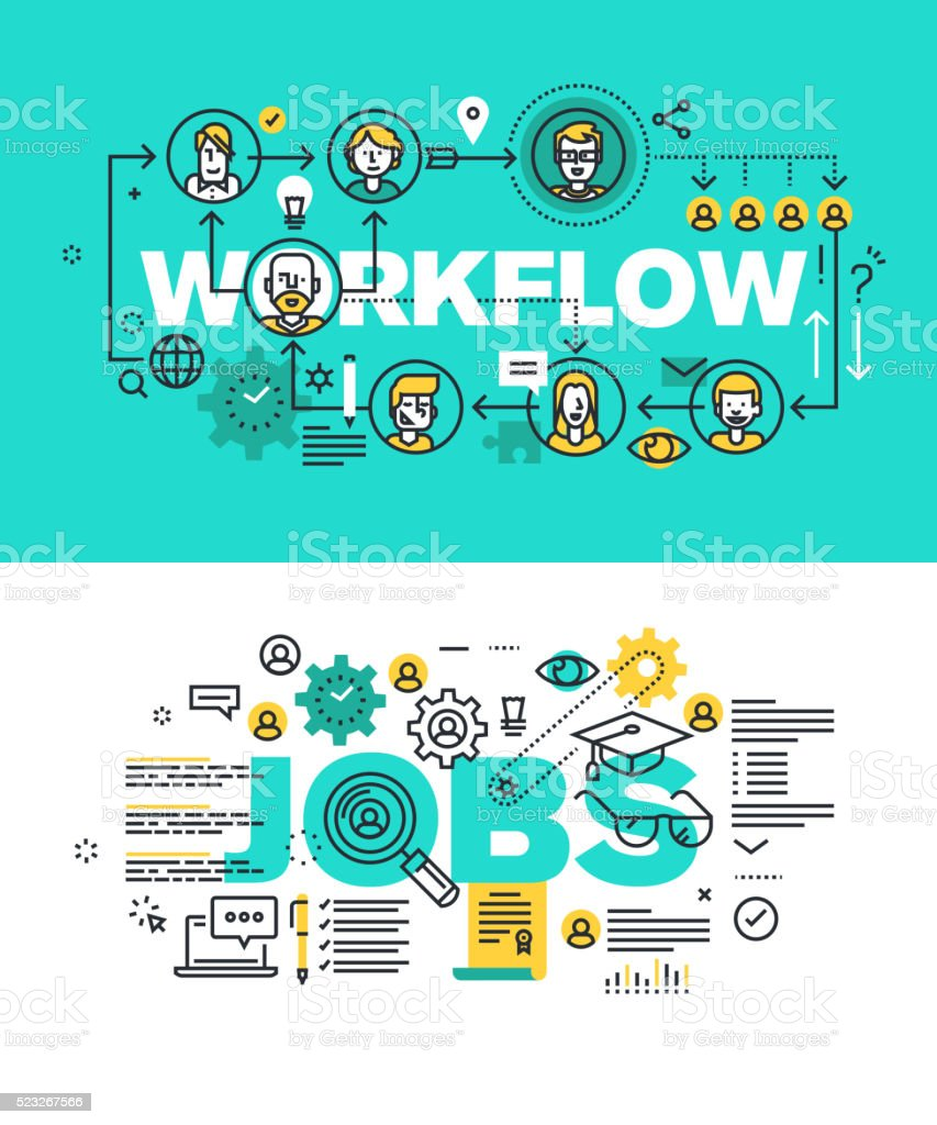 Set of vector illustration concepts of words workflow and jobs vector art illustration