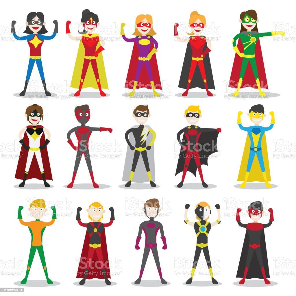 Set of vector illustration of a superhero vector art illustration