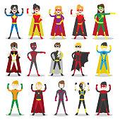 Set of vector illustration of a superhero