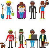 Set of vector Illustration of adult man in different situations