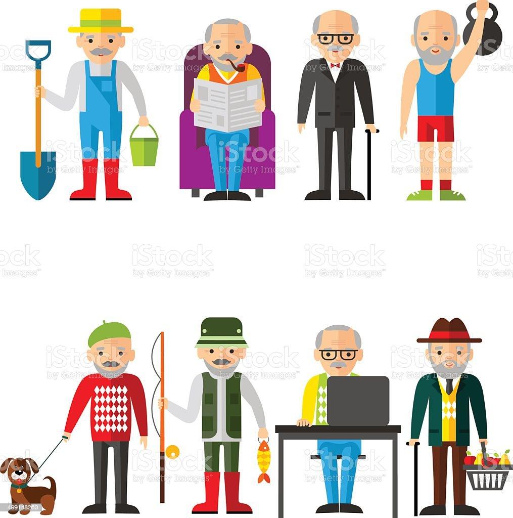 Conjunto de ilustración vectorial de adulto hombre en diferentes situaciones - ilustración de arte vectorial