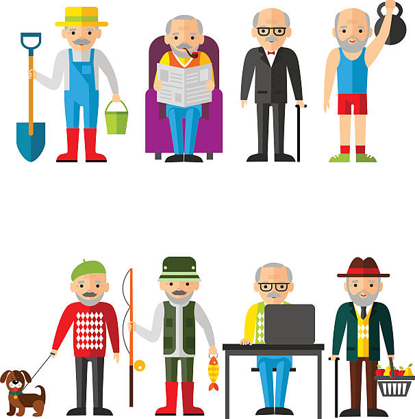 set of vector illustration of adult man in different situations - old man computer silhouette stock illustrations, clip art, cartoons, & icons