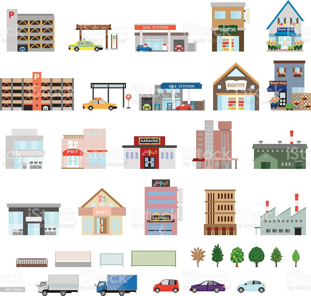 Set of vector illustration of city buildings vector art illustration