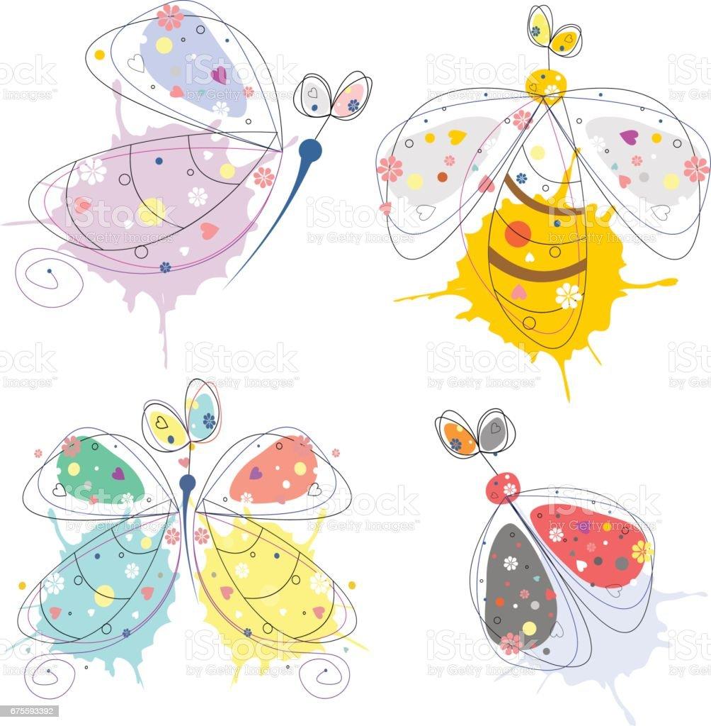 Satz von Vektor-Illustration des Insekts. Dekorative Süße Schmetterling, Marienkäfer, Wespe, isoliert auf weißem Hintergrund gezeichnet. Strichzeichnung. – Vektorgrafik
