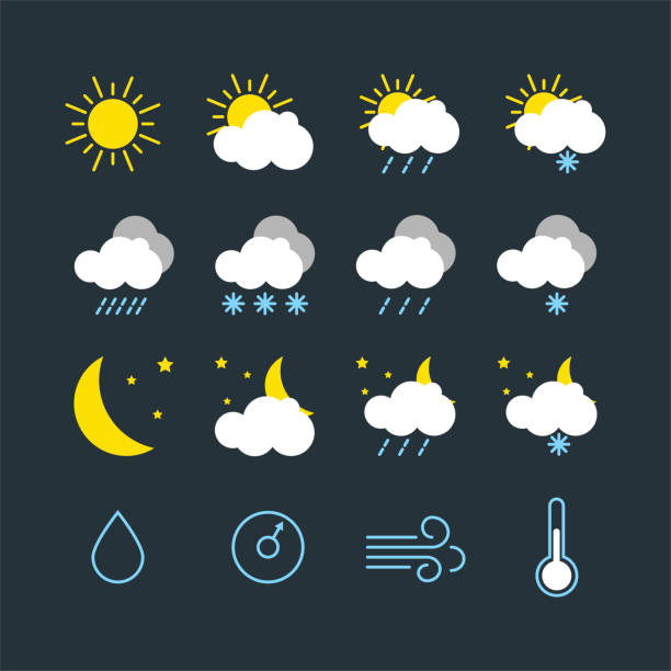 set of vector illustration of modern weather icons set of vector illustration of modern weather icons. Flat symbols on dark background. Picture of sun, moon, clouds, precipitation, air humidity, atmospheric pressure, wind, temperature storm stock illustrations