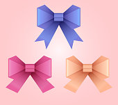 Set of vector illustration of paper origami bows