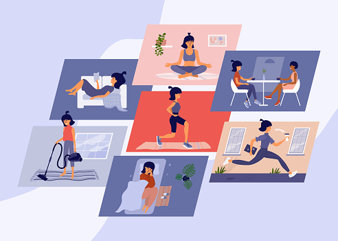 Set of vector illustration of young woman daily routine
