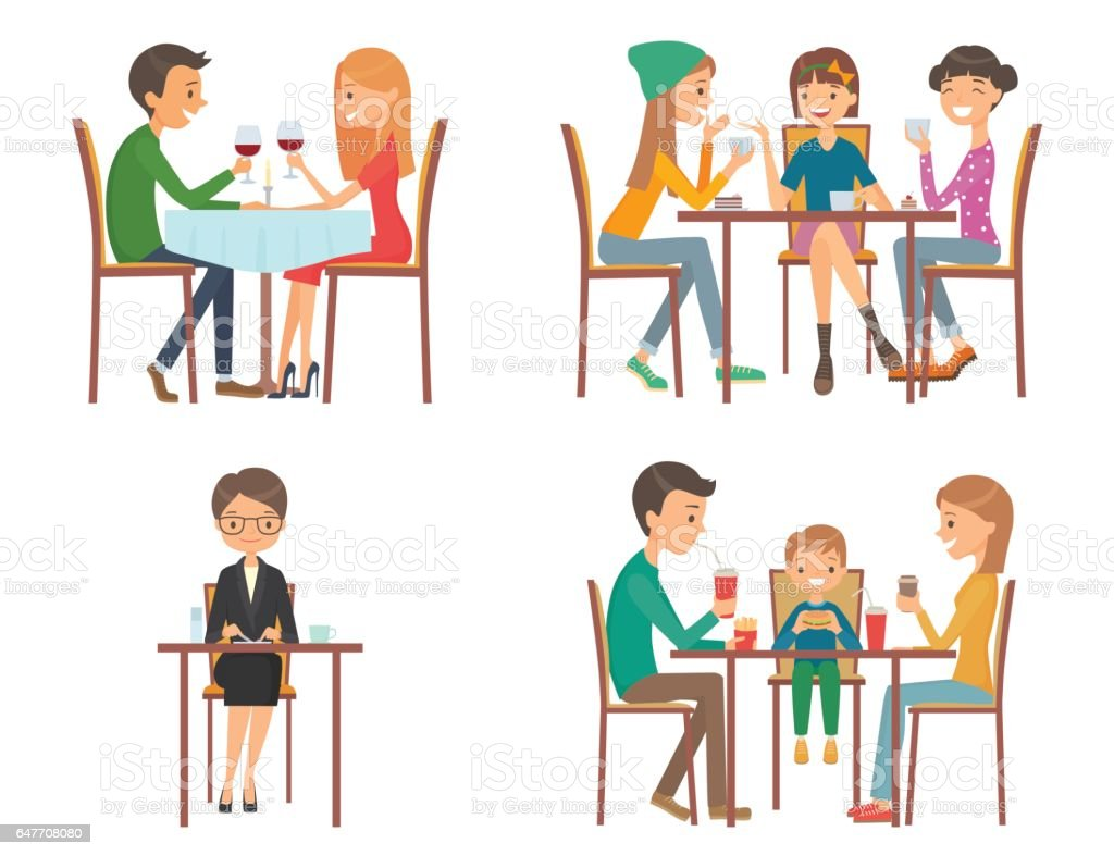 Set of vector illustration on the theme of people in restaurant vector art illustration