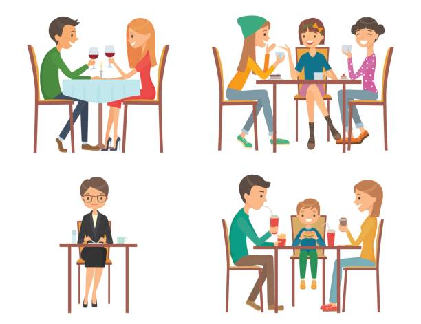set of vector illustration on the theme of people in restaurant - family dinner stock illustrations, clip art, cartoons, & icons