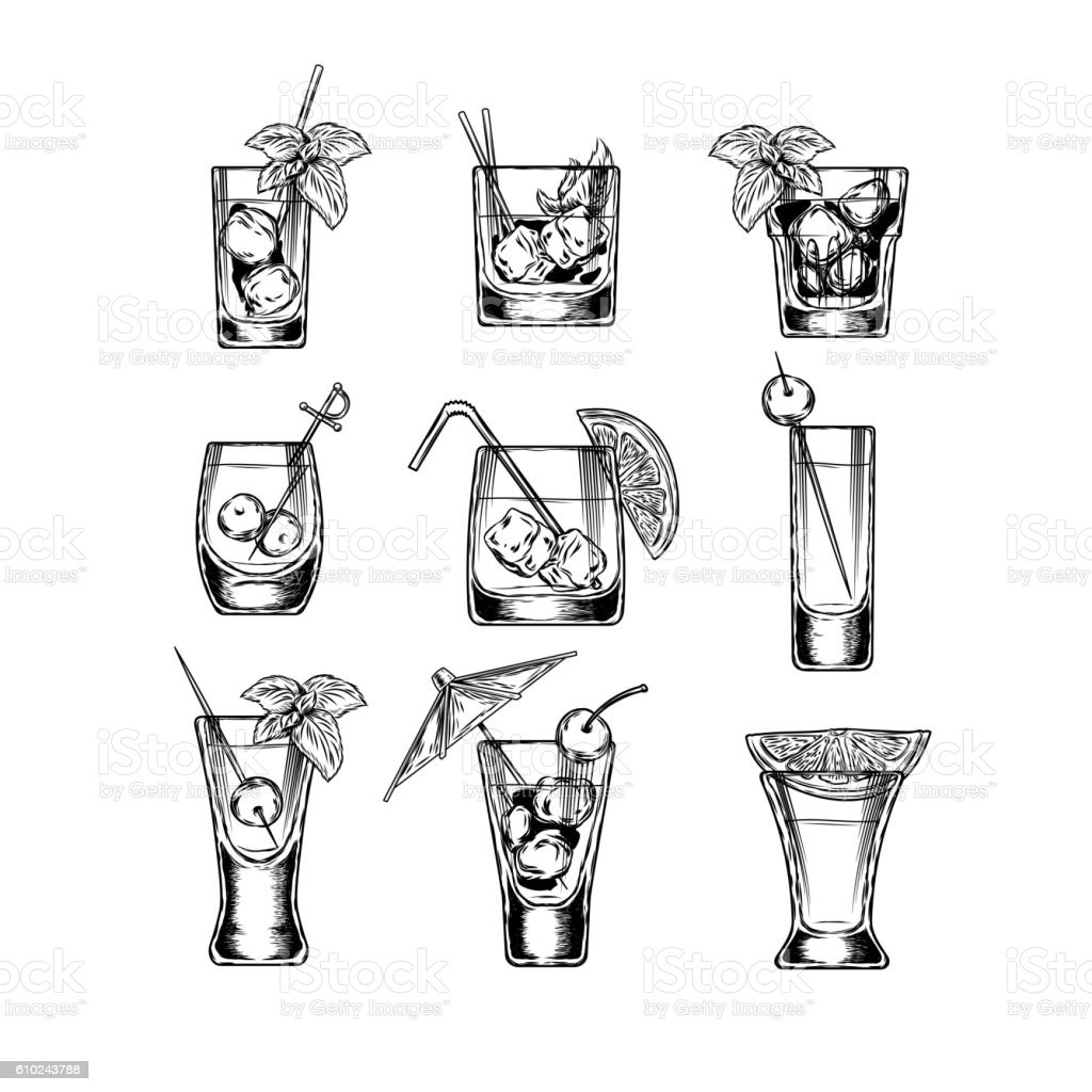 Set of vector illustration stemware vector art illustration