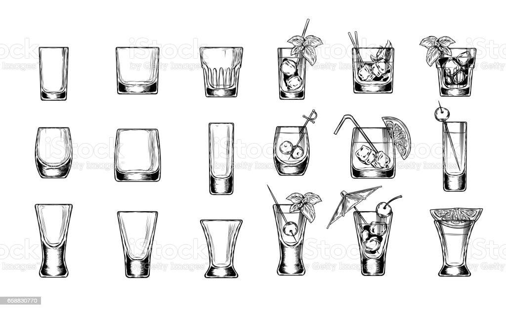 Conjunto de copas de ilustración vectorial - ilustración de arte vectorial