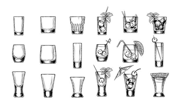 set of vector illustration stemware - alcohol drink drawings stock illustrations