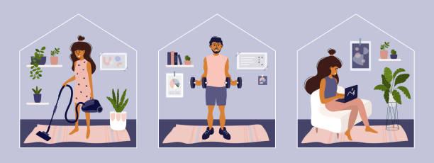 Set of vector illustration with stay or work from home – artystyczna grafika wektorowa