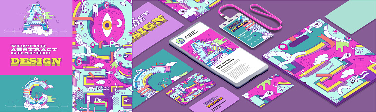 Set of vector illustrations. Background images, holiday abstract patterns and textures for holiday packaging. Corporate identity, branding, t-shirt, mobile phone, package, postcard, I. D. badge.