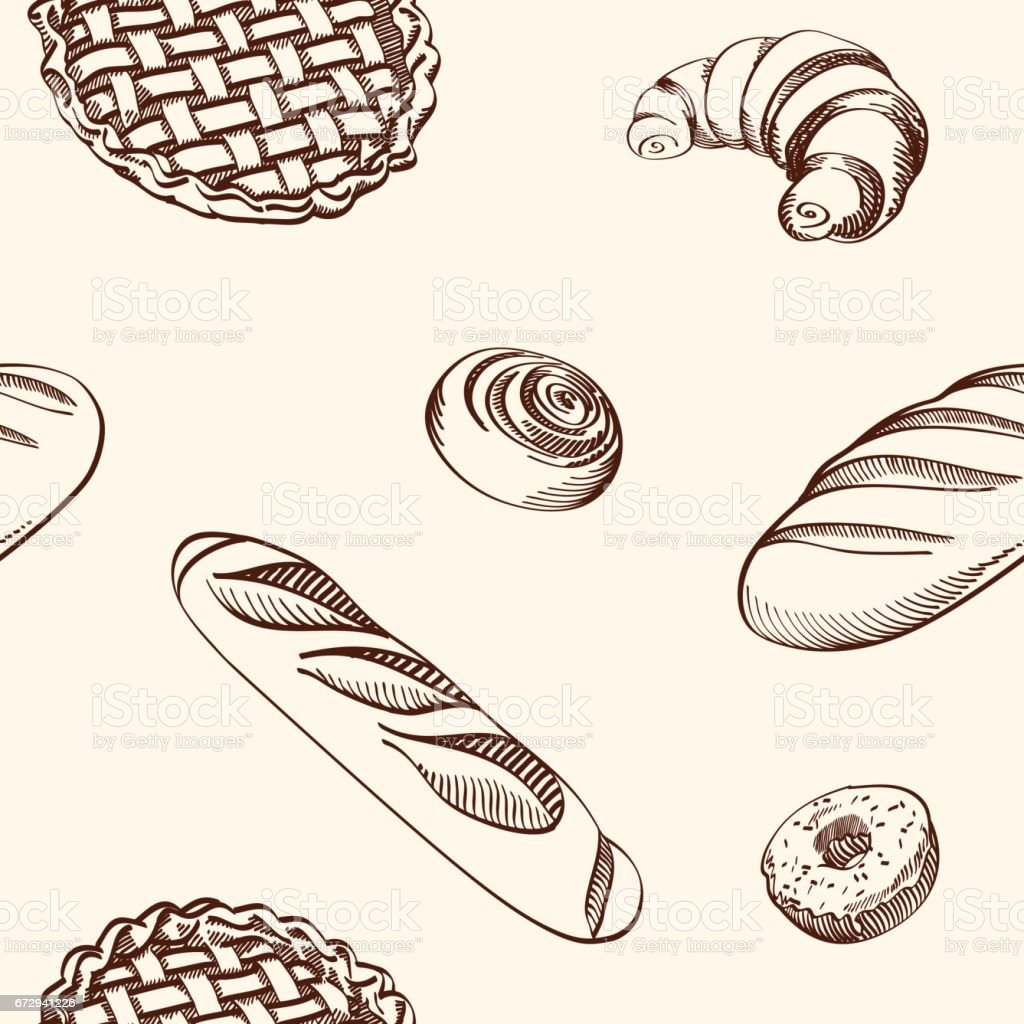 Set of vector illustrations - different kinds of cookies and cakes, seamless background. vector art illustration