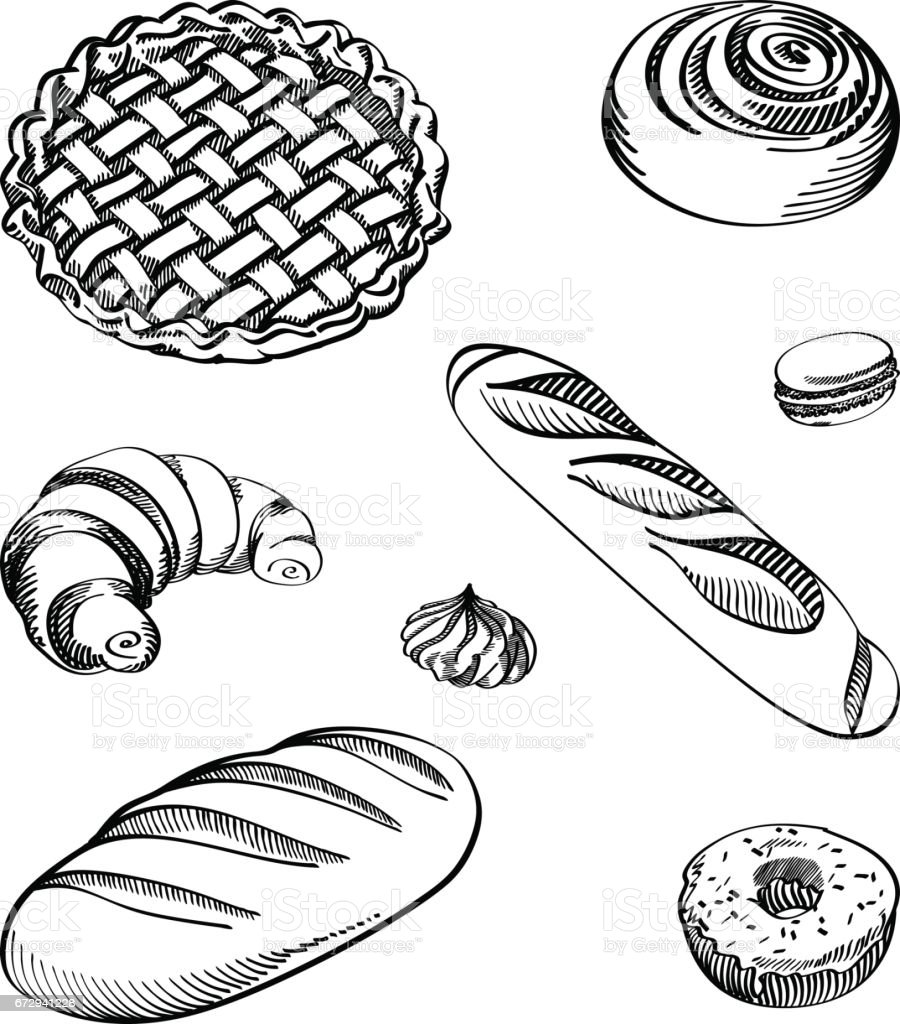 Set of vector illustrations - different kinds of cookies and cakes, isolated. vector art illustration