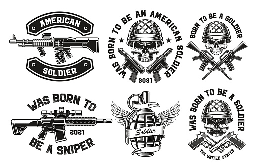 A set of vector illustrations for a military theme