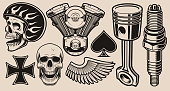 Set of vector illustrations for biker theme isolated on a white background.
