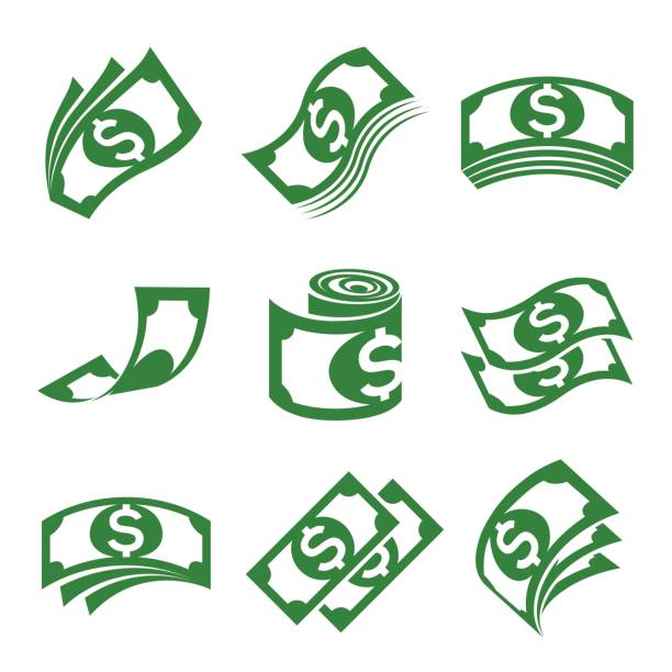 set of vector illustrations for money icons, especially the dollar - dollar bill stock illustrations