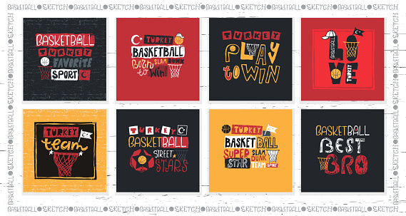 Set of vector illustrations for Turkish basketball. Handwritten lettering, hand drawing, symbol. Sport fashion print for t shirt, text born to win, play to win.