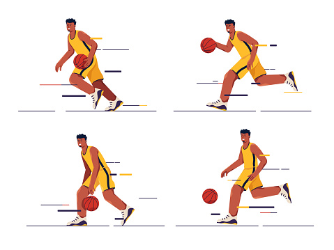 Set of vector illustrations of a basketball player in motion