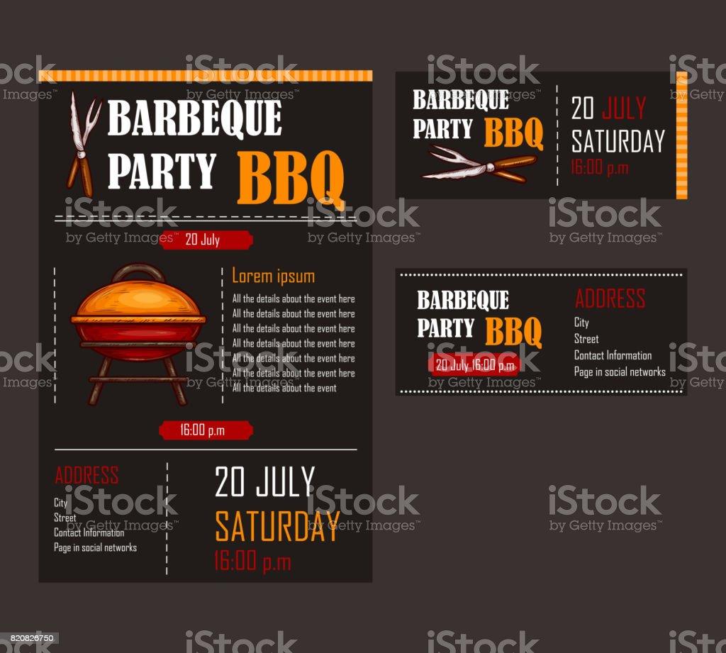 Satz von Vektor-Illustrationen einer Bbq-Menü Vorlage Einladungskarte auf einem Grill, Geschenkgutschein – Vektorgrafik
