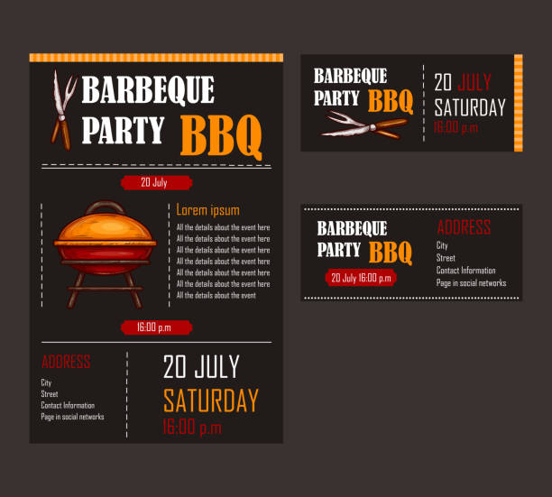 Set of vector illustrations of a bbq menu template, invitation card on a barbecue, gift certificate vector art illustration