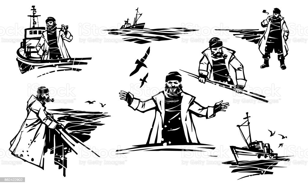 Set of vector illustrations of a sailor with a pipe vector art illustration