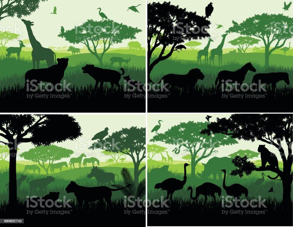 set of Vector illustrations of african savannah safari landscape with wildlife animals silhouettes in sunset design templates - illustrazione arte vettoriale