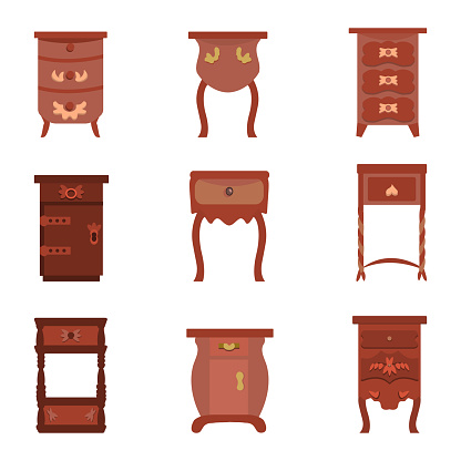set of vector illustrations of antique bedside tables, dressers and bureaus in a flat cartoon style