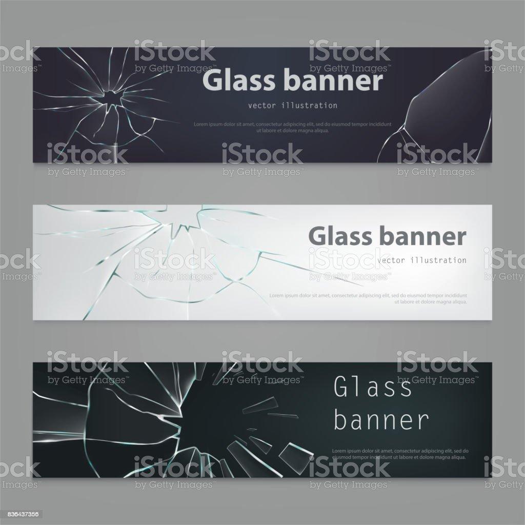 Satz von Vektor-Illustrationen von Glasscherben Bannern, gebrochene Glas. – Vektorgrafik