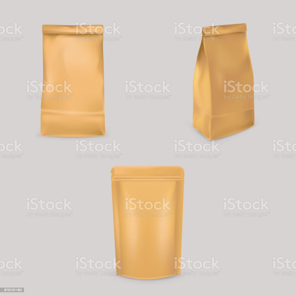 A set of vector illustrations of brown paper bags for packaging, storage of products. vector art illustration